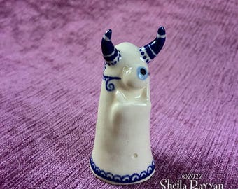 Blue-Eyed Monster - hand sculpted stoneware ceramic buddy desk pet delft cobalt blue