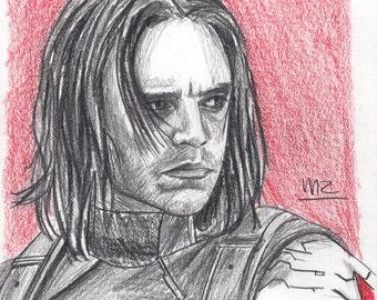 Winter Soldier - original pencil sketch - size A5