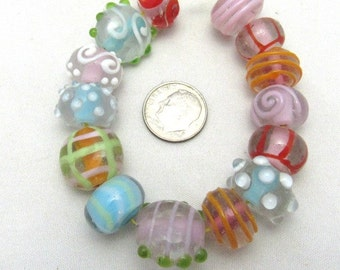 1 Strand Handmade Rondelles & Coin Lampwork Beads in Assorted Colors (B35b)