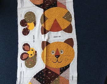 Calico Cat and Tiny Mouse - Sewing Fabric Panel