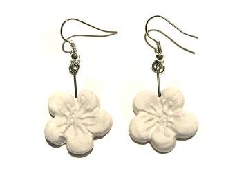 Polymer Clay White Flower Earrings