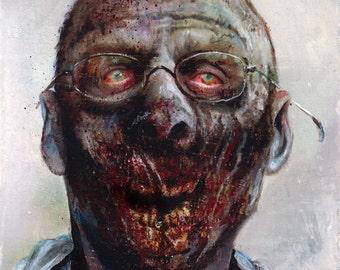 "Zombie 68 Jack C. original zombie painting 6""x6"""
