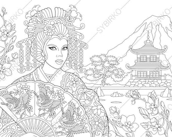 Coloring Pages for adults. Japanese Geisha. Oriental colouring pages. Ladies coloring book. Instant Download Print