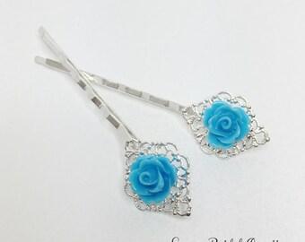 Blue Rose Hair Pin Silver Filigree Bobby Pin Blue Bridesmaid Blue Wedding Hair Accessory Flower Girl Gift Blue Hair Jewelry