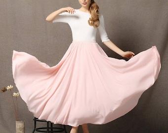 Chiffon Skirt, womens skirts, pink chiffon skirt, floaty maxi skirt, chiffon maxi skirt, long chiffon skirt, chiffon wedding skirt C595