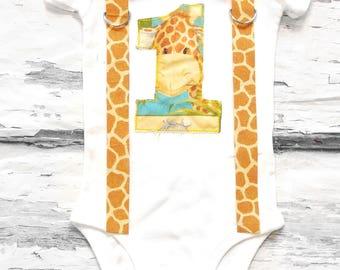 Baby boy first birthday Baby Giraffe zoo themed cake smash outfit boy little giraffe 1st birthday one year bow tie onesie  boy birthday
