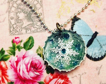 Winter Snowflake Bottlecap Pendant Necklace