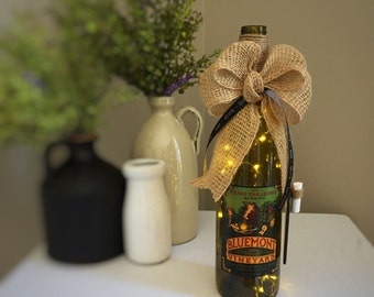 Country Farmhouse Handmade Home Decor / Cordless Wine Bottle Lamp / Virginia Wine / Eat Drink Be Merry / Kitchen Decor / Gift for Mom