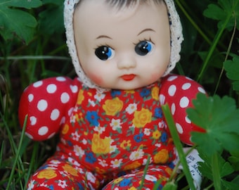 Squeaky doll * cloth doll with dotted pattern