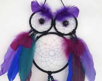Owl Dreamcatcher in Blue, Teal, Magenta and Purple