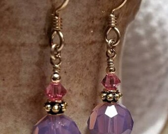 Handmade Earrings - 14K Gold Filled Earwires, PURPLE & PINK Swarovski Drops