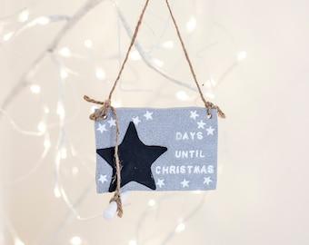 Christmas sign, children's Christmas, Christmas countdown plaque, star chalkboard, countdown to christmas chalk plaque