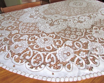 "1970's Oval White Quaker Lace Tablecloth/ Large Regal Rose, White on Bronze, floral Nottingham lace tablecloth/ 54 1/2"" X 91 1/2"""