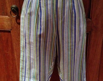 Vintage 1950s Diagonal Striped Capri Pants - S
