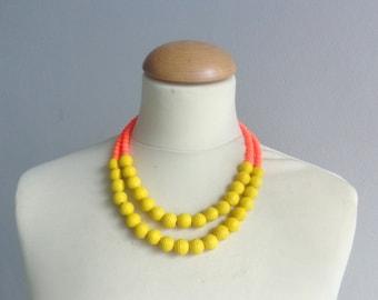 Yellow orange statement necklace