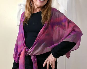 silk kimono jacket, one of a kind art to wear, hand-dyed, sheer, versatile, shades of pink, purple