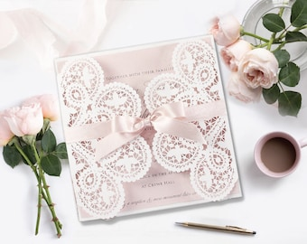 Self stationery diy laser cut kits by selfstationery on etsy wedding invitation laser cut gatefold rose diy kit ribbon envelope square white do it yourself stationery solutioingenieria Images
