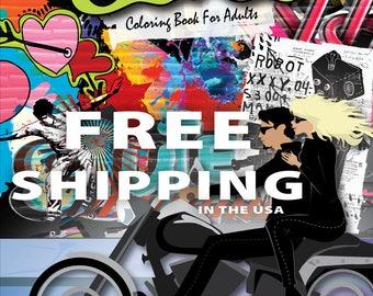 Graffiti, Coloring Book for Adults, Graffiti Coloring Book, Adult Coloring Book, Coloring Pages