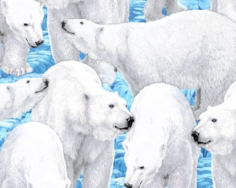 Polar Bear Fabric Northern Lights Fabric From Quilting Treasures 100% Cotton