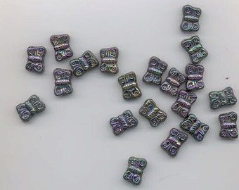 22 Czech glass beads - iris - 12.2 x 8.5 mm butterflies