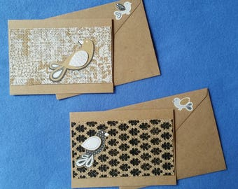 Two Greeting Cards, burlap and birds - Recycled Handmade Kraft Paper blank cards