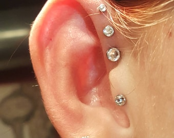 Flat Bevelled Tops Clear Crystal Steel Surgical 316L Flat Post Earring Cartilage Helix Tragus Ring Triple 18g 16g