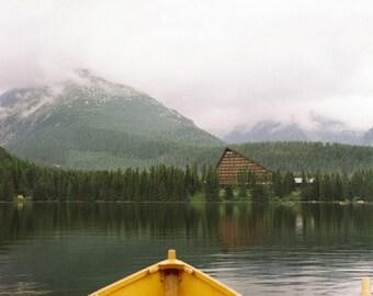Yellow Boat- Fine Art Photography- High Tatras Mountains Lake- Slovakia