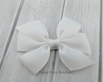 "3"" White Pinwheel Hair Bow-Alligator Clip-Baby Hair Bow-Toddler Hair Bow"
