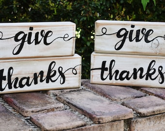 Give Thanks; hand painted give thanks wood blocks; home decor; black and white