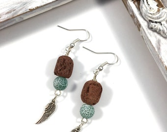 Frosted agate diffuser earrings with wings
