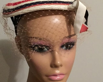 Vintage Hat Red White & Blue Mini Hat Fascinator with Netting and Ribbon