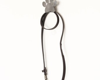 Paw Print Metal Wall Hook Leash Holder  |  rustic decor pet dog lover cat lover
