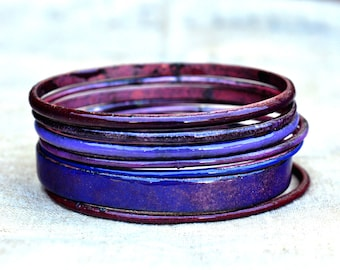 Plum Tones Bangle Set - Handmade Enamel Bracelets