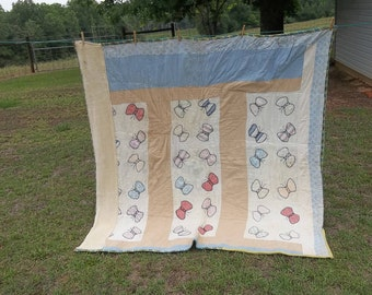 Vintage Quilt Primitive Antiques 68 x 70 Bedding Rustic Bedspread Flour Sack Quilt  Cottage Chic Prairie Decor