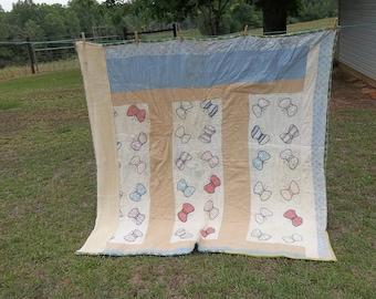 Vintage Quilt Primitive Antiques 68 x 70 Bedding Rustic Bedspread Flour Sack Quilt  Cottage Chic Prairie Decor