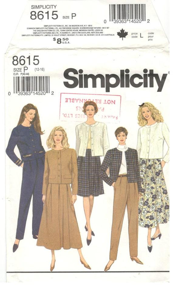 Simplicidad 8615 talla 12 14 16 manga larga chaqueta mujer