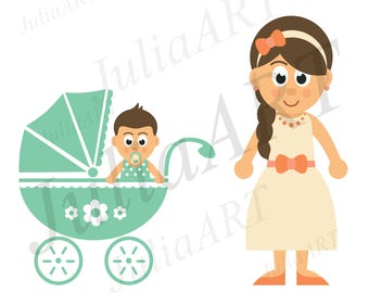 cartoon baby boy and girl with mother set vector image