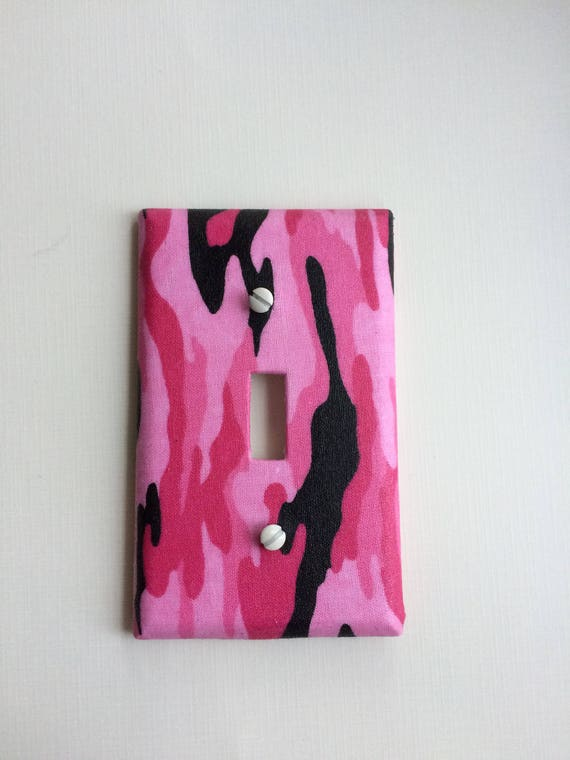 Camouflage Light Switch Cover Pink and Black Camo Light