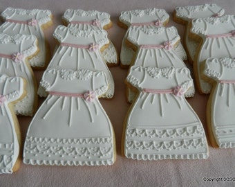 Baby girl dress cookies for baptism communion weddings baby showers (#2509)