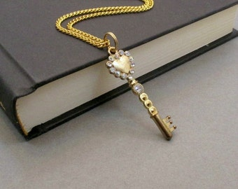 Key Necklace, Gift for Her, Long Gold Key Necklace, Skeleton Key Necklace, Long Necklace, Classic Jewelery, Key Necklace, Gift for Women