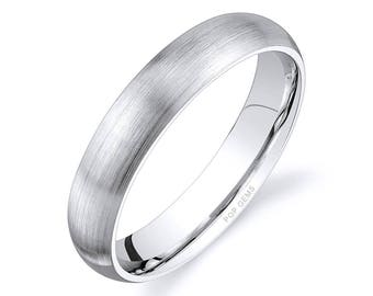 14k White Gold Band (4mm) / PLAIN / Matte Brushed Rounded Dome + Comfort Fit / Men's Women's Wedding Ring
