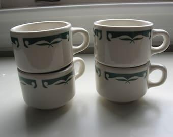 4 Vintage Mid Century Restaurant Diner Ware  Heavy Mugs//Homer Laughlin Made in USA//Retro Mid Century Cups//Coffee/Hot Chocolate Mugs