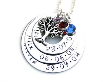 Personalised Gift for Mum, Personalised Family Tree Gift, Personalised Necklace, Unique Gift for Mum, Handmade Gift idea, Mother's Day Gift