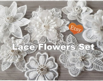 7 Lace Random Fabric White Flowers with gems for cards, shabby chic projects and mixed media, scrapbooking embellishment