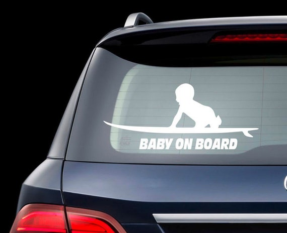 Surfboard baby on board car decal baby surfer decal surf