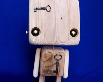 Recycled wooden robot - go anywhere