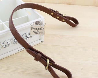 tie 2 x straps handles purse leather light brown PU