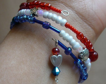 Patriotic Fourth of July Memory Wire Bracelet - Red, White, and Blue (Perfect For July 4th, Summer, Picnic)