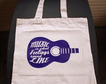 Music Is What Feelings Sound Like Tote Bag - Small Bag - Purple Vinyl - Beige