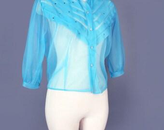 1950's Vintage Blue Sheer Blouse Top, Nylon Chiffon Shirt, Rhinestone Button Up, Mid Century, 40's, Turquoise, Medium